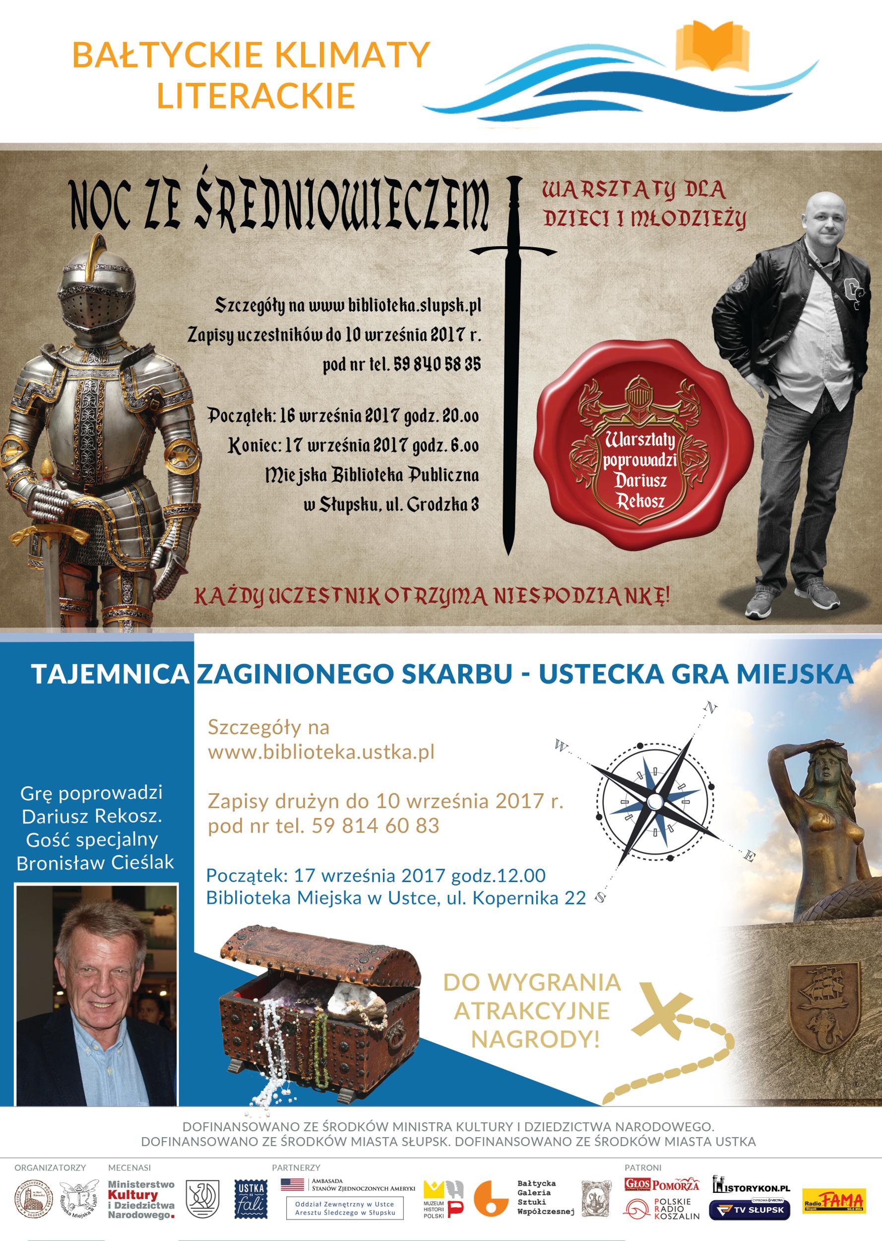 Bałtyckie Klimaty Literackie - plakat warsztatów i gry miejskiej