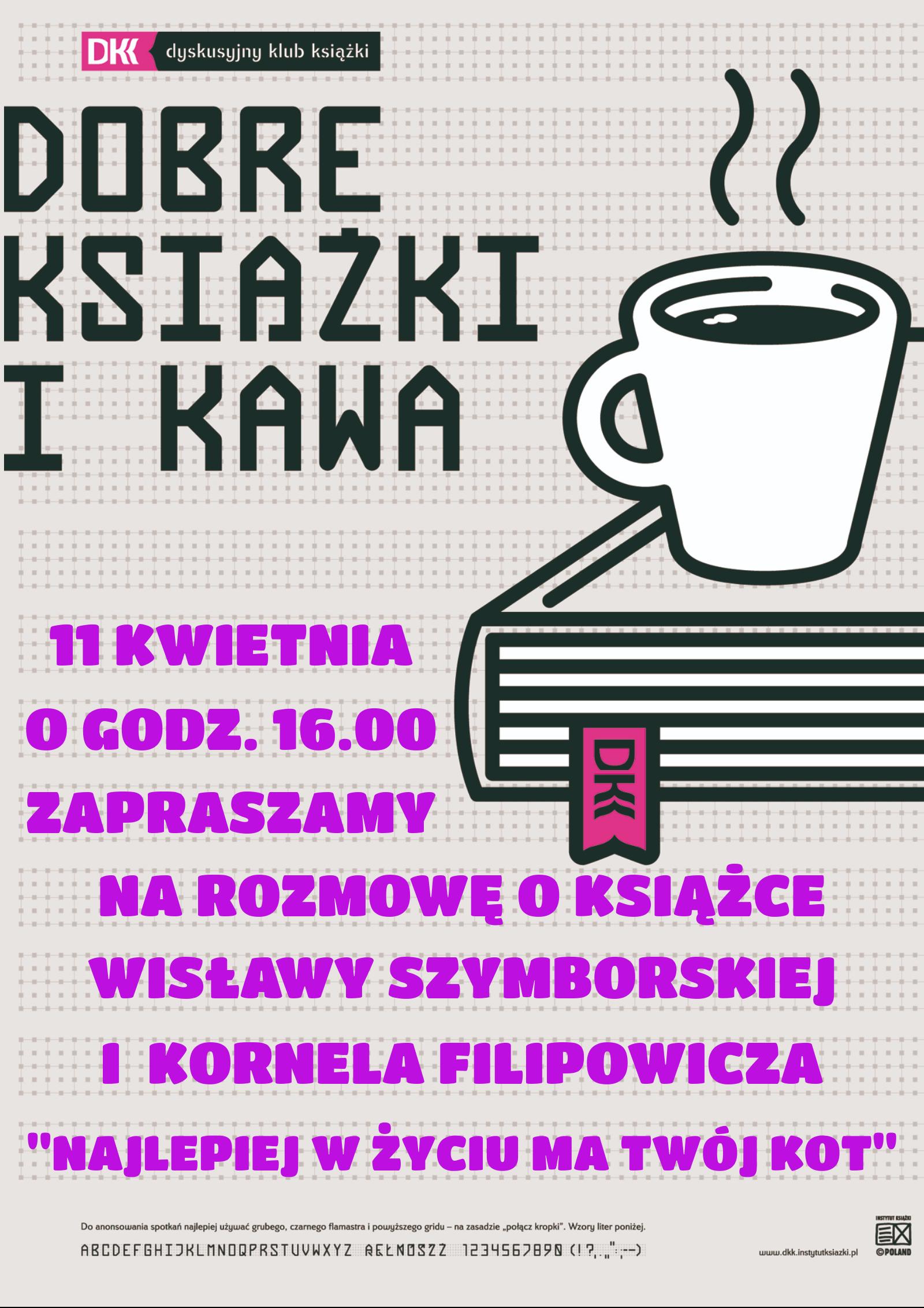 Plakat odnośnie lutowego spotkania Dyskusyjnego Klubu Książki