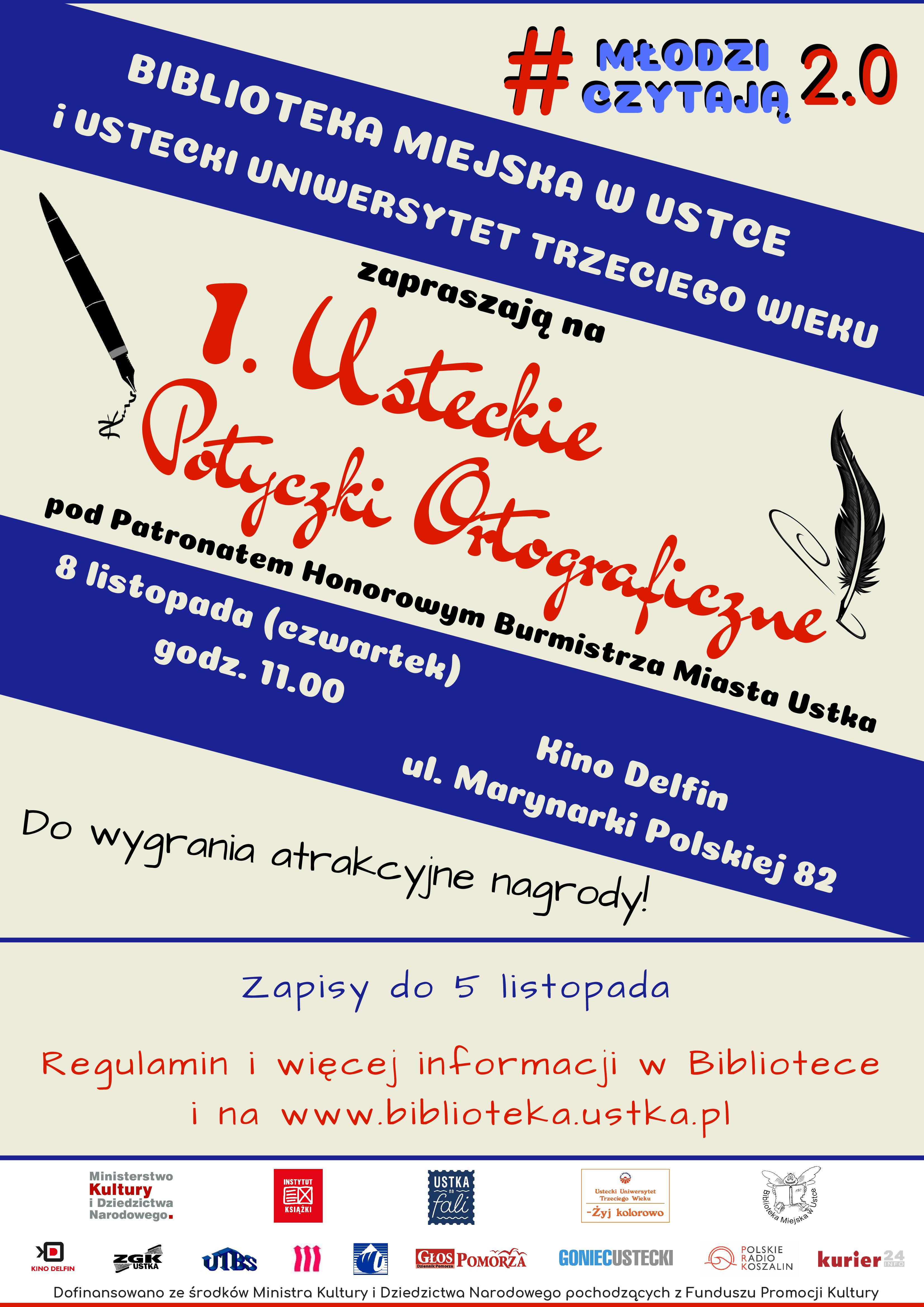 1. Usteckie Potyczki Ortograficzne - plakat